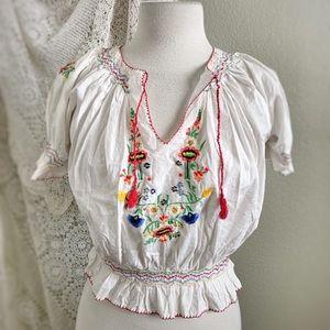 PAPRIKA   Vintage Style Mexican Peasant Boho Top